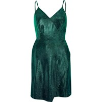 River Island Womens Green Metallic Wrap Slip Dress