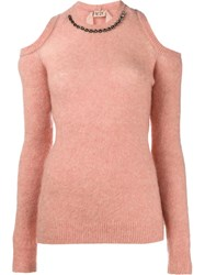 N 21 No21 Diamante Neckline Sweater Pink Purple