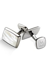 Men's M Clip Stainless Steel Cuff Links Stainless Steel White Pearl