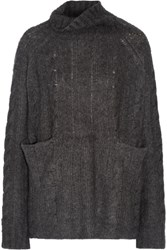 Frame Le Oversized Cable Knit Cashmere Turtleneck Sweater Charcoal