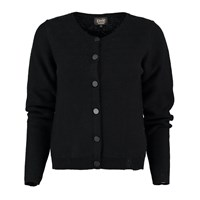 Lowie Cashmere Blend Knit Detail Round Neck Cardigan In Black