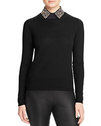 Bloomingdale's C By Embellished Collar Cashmere Sweater Black
