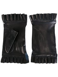 Gala Fingerless Frilly Gloves Blue