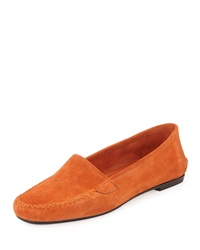 Manolo Blahnik Speed Suede Moccasin Flat Legno Orange Crosta Legno Oran