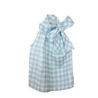 Etrala London Aqua Gingham Bow Blouse Blue