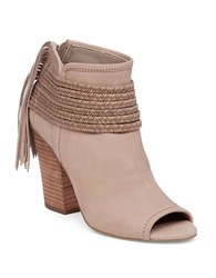 Bcbgeneration Cinder Leather And Suede Fringe Booties Taupe