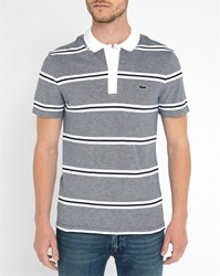 Lacoste Mottled Navy Striped Polo Shirt With White Collar Blue