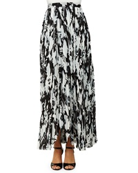 Thakoon Pleated Floral Print Long Skirt Black White