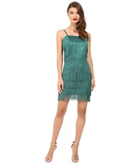 Unique Vintage Speakeasy Tiered Fringe Flapper Dress Emerald Women's Dress Green