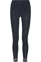Hanro Chiara Lace Trimmed Wool And Silk Blend Leggings Anthracite