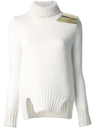 Jay Ahr Gold Tone Shoulder Plaque Pullover White