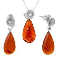 Be Jewelled Sterling Silver Amber Pendant And Drop Earrings Gift Set Silver Amber
