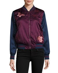 Max Studio Embroidered Satin Butterfly Bomber Jacket Red Blue