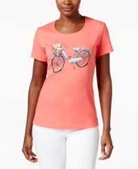 Karen Scott Petite Bicycle Graphic T Shirt Only At Macy's Peony Coral