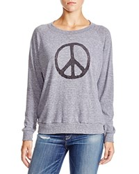 Nation Ltd. Nation Ltd Peace Sign Raglan Sweatshirt 100 Bloomingdale's Exclusive Heather Grey