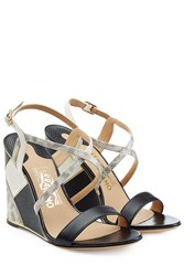 Salvatore Ferragamo Mixed Leather Wedge Sandals Animal Prints
