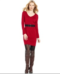 Ny Collection Petite Belted Sweater Dress Cabernet