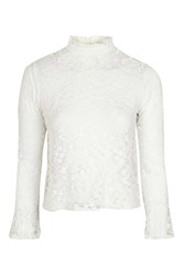 Topshop Frill Neck Lace Shirt Ivory