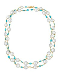 Belpearl 18K White South Sea Pearl And Turquoise Necklace Women's