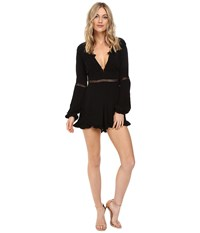 For Love And Lemons Lilou Floral Romper Black Women's Jumpsuit Rompers One Piece