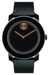 Movado 'Bold' Leather Strap Watch 42Mm Regular Retail Price 395.00 Black