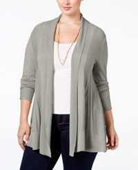 Ny Collection Plus Size Open Front Textured Cardigan Grey Heather