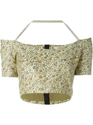 Etro Floral Print Off Shoulder Cropped Shirt Yellow And Orange