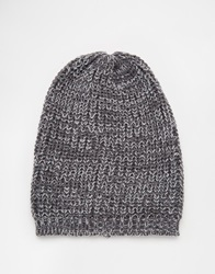 Asos Slouchy Beanie In Grey Twist
