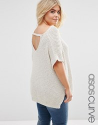 Asos Curve Sleeveless Chunky Knit Top With V Back And Sides Splits Natural Cream