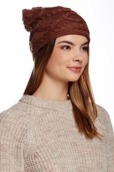 Modena Horizontal Knit Slouch Beanie Brown