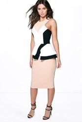 Boohoo Colour Block Panelled Peplum Dress Multi