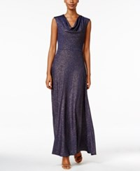 Tahari By Arthur S. Levine Asl Cowl Neck Glitter Gown Navy Gold