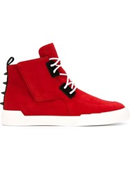 Giuseppe Zanotti Design Lace Up Hi Top Sneakers Red