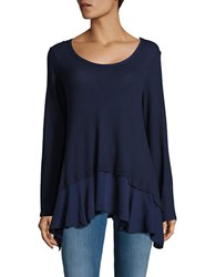Design Lab Lord And Taylor Asymmetrical Thermal Knit Top Navy