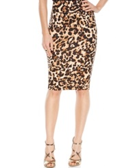 Thalia Sodi Animal Print Scuba Pencil Skirt Leopard
