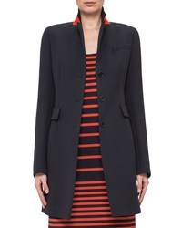 Akris Punto Fitted Three Button Colorblock Wool Coat Navy Women's