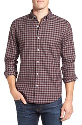Bonobos Men's Slim Fit Jaspe Gingham Poplin Sport Shirt Elderberry Wine