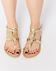 New Look Imperial Gold Loop Gladiator Flat Sandals