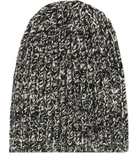 The Elder Statesman Straight Cashmere Ski Beanie Hat Black White