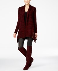 Material Girl Juniors' Zip Trim Asymmetrical Hem Cardigan Only At Macy's Zinfandel