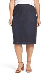 Sejour Plus Size Women's Denim Midi Skirt Dark Indigo Wash