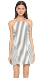 Milly Breton Stripe Ruffled Hem Dress Black