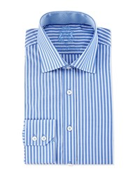 English Laundry Striped Long Sleeve Dress Shirt Blue White