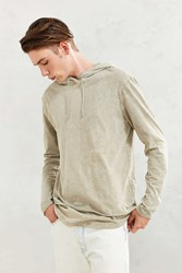 Feathers Washed Double Layer Hooded Long Sleeve Tee Tan