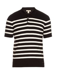 Burberry Striped Cotton Knit Polo Shirt Black Stripe