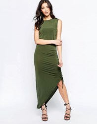 Wal G Dress With Rouched Side Khaki Green