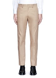 Valentino Side Stripe Cotton Blend Chinos Brown