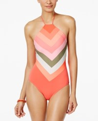 Vince Camuto High Neck Colorblocked One Piece Swimsuit Women's Swimsuit Pop Coral