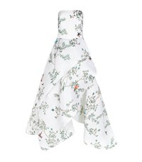 Monique Lhuillier Strapless Bird Print Ball Gown Female White