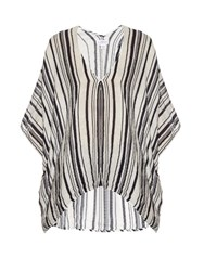 Velvet By Graham And Spencer Amidala Striped Cotton Top Blue White